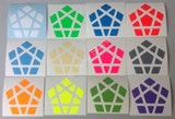 Half-Bright Stickers for Megaminx Black Body (with white stickers)