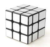 Unequal 3x3x3 Cube Black Body in Silver Stickers